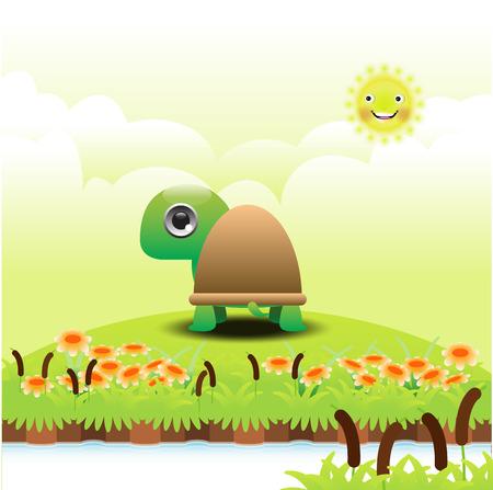Cartoon turtle on green grass