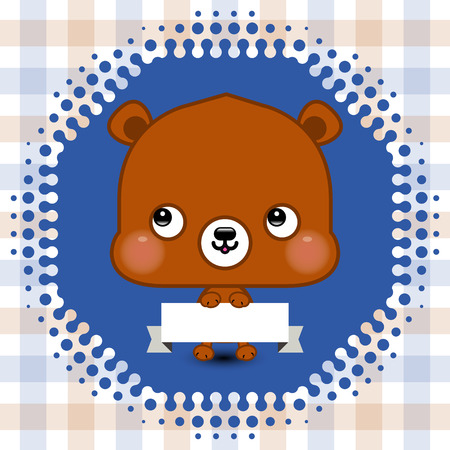 Cartoon cute bear holding a banner with copy space Vector