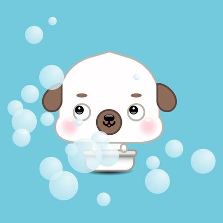 Funny cartoon dog in bathroom Vector
