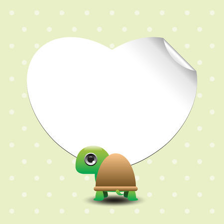 place for text: Cute cartoon turtles with place for text