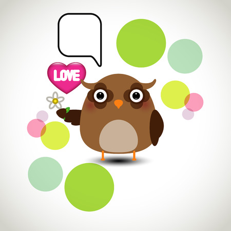 oink: Cute owl holding a flower with a speech bubble