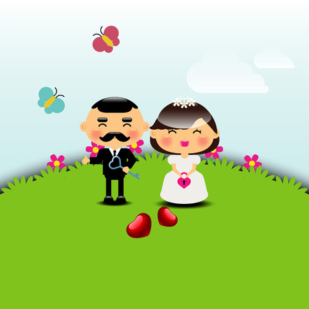 wedding invitation card template vector illustration Illustration