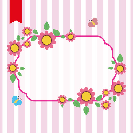 Vector illustration of flowers frame with place for text