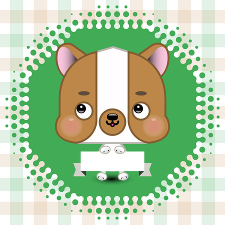 strip a dog: Cartoon cute dog holding a banner with copy space. Vector  illustration