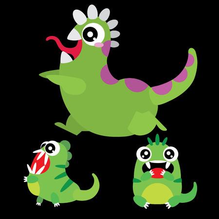 A set of cute cartoon monsters Vector