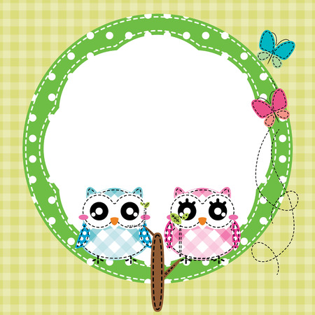 Frame of cute owls on branch
