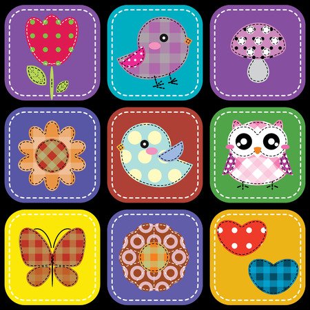 Background with heart flower mushrooms butterfly and birds Vector