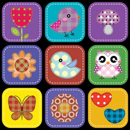 pajaro caricatura: Fondo con el corazón setas flor de mariposa y las aves