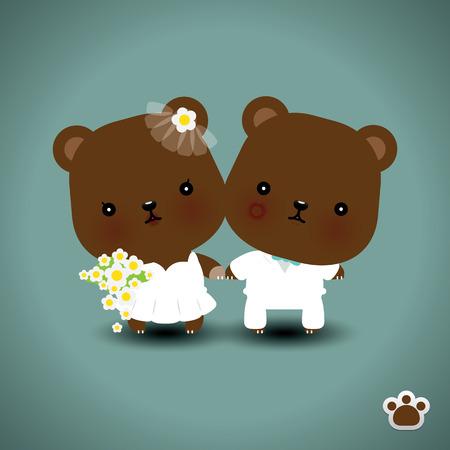 Wedding teddy bears. Vector illustration Vector