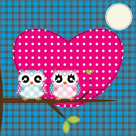 Two cute owls on the tree Vector