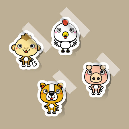 12: 12 Chinese zodiac signs design stickers