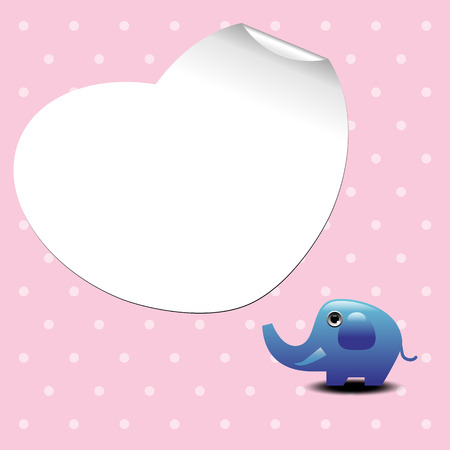 Love greeting card with elephant and white paper heart shape Vector