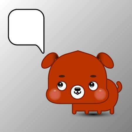 cute cartoon dog: Cute cartoon dog with speech bubble