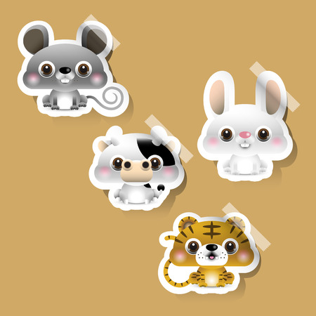 chinese zodiac: 12 Chinese zodiac signs design stickers