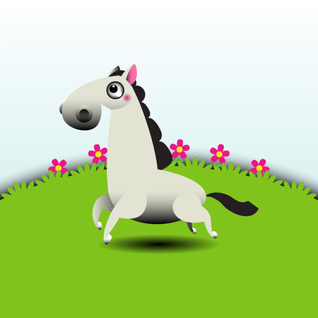 Illustration of a horse running in grassland Vector