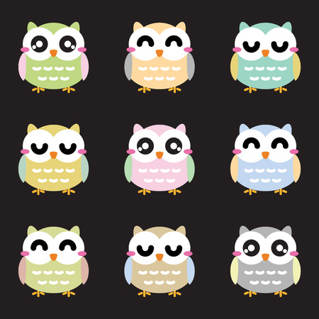 twit: Cute owls set. Vector illustration Illustration
