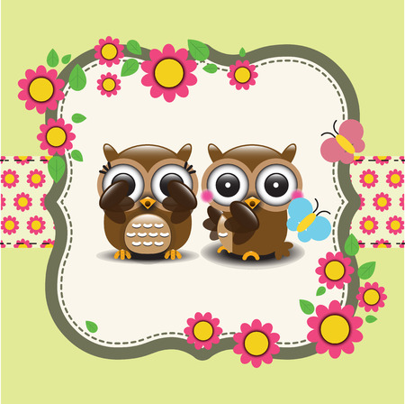 love tree: Couple of owls in love. Vector illustration Illustration