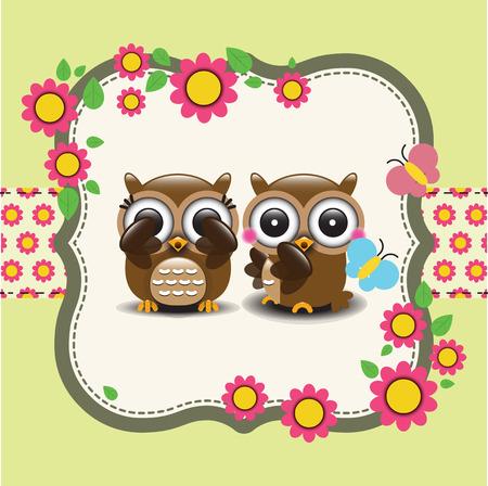 owl family: Couple of owls in love. Vector illustration Illustration