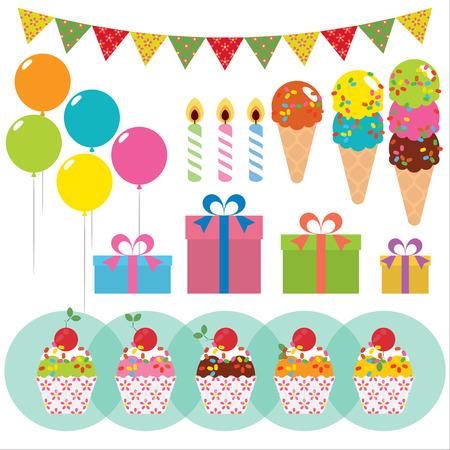 celebracion cumplea�os: Elementos celebraci�n de cumplea�os. Ilustraci�n vectorial Vectores