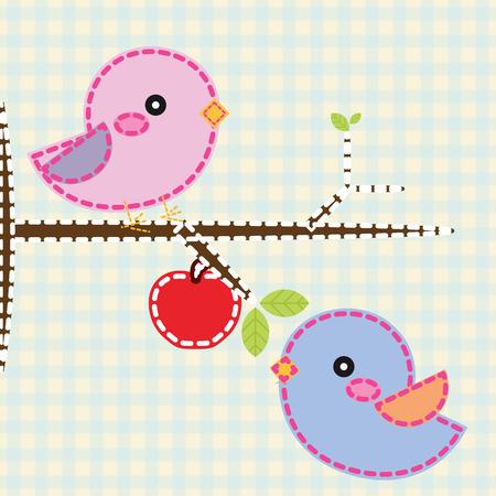 Cute Birds. Vector illustration