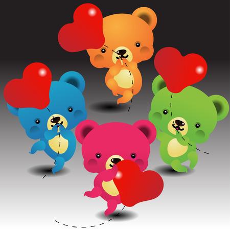 Cute Bears keeps the balloon. Vector illustration