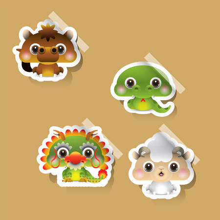 12 Chinese zodiac signs design stickers. Vector illustration