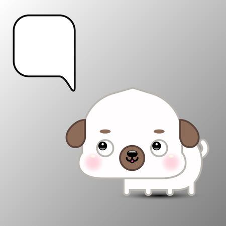 Cute cartoon dog with speech bubble. Vector illustration