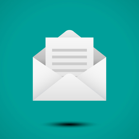 Open envelope for letter. Symbol of message, mail, email or business document. Realistic icon isolated on white background. Vector illustration