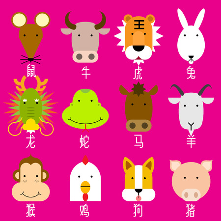 12  Chinese zodiac icon set, face of rat, ox, tiger, rabbit, dragon, snake, horse, goat, monkey, rooster, dog, pig, flat design character. Vector illustration