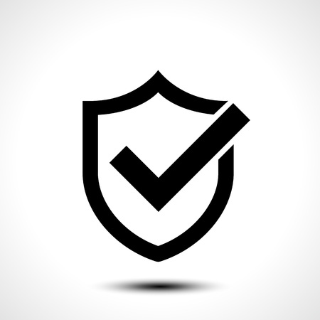 Shield check mark logo icon design template element Vector illustration of shield with right tick on white background Illustration