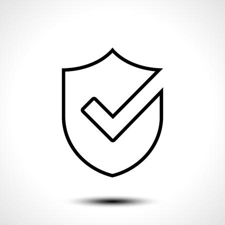 Bouclier coche logo icône conception modèle élément / Illustration vectorielle de bouclier avec droit coche sur blanc fond