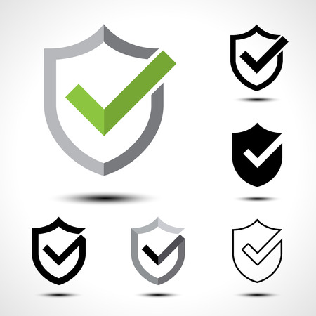 Shield check mark logo icon design template element/ Vector illustration of shield with right tick on white background