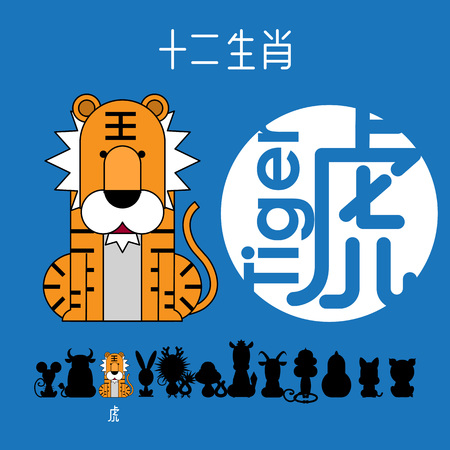 Chinese zodiac sign tiger with Chinese character tiger
