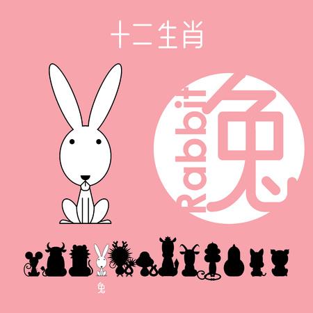 Chinese zodiac sign rabbit(bunny), , Chinese character rabbit