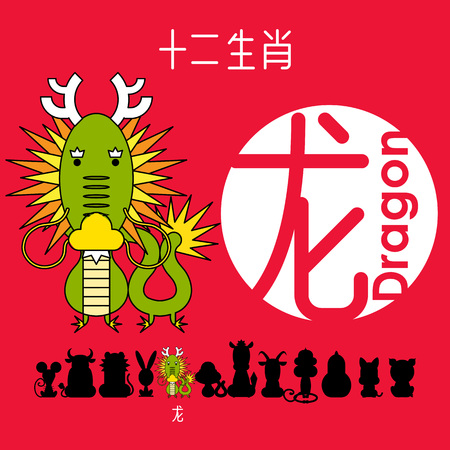 Chinese zodiac sign dragon with Chinese character dragon