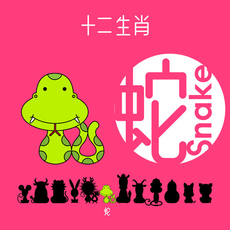 Chinese zodiac sign snake with Chinese character snake