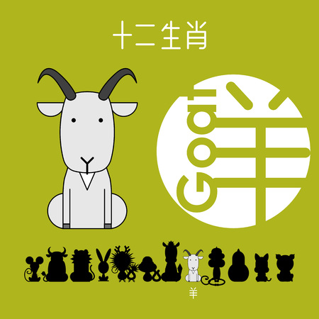 Chinese zodiac sign goat with Chinese character goat