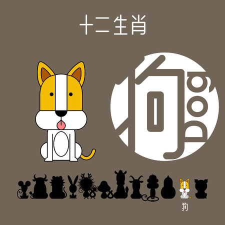 Chinese zodiac sign dog with Chinese character dog