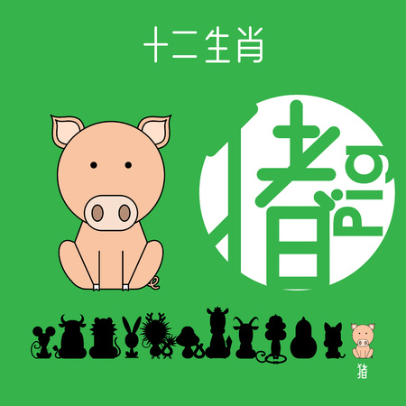 Chinese zodiac sign pig with Chinese character pig