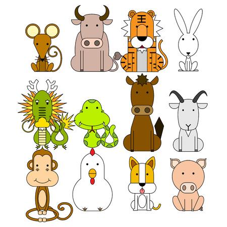 12 Chinese zodiac icon set, Vector illustration