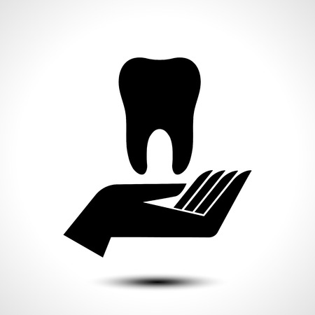 Hand holding a tooth icon, dental and health care vector symbol.