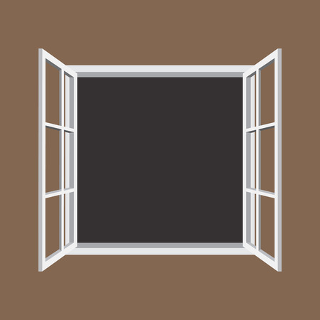 own: Open window frame icon. Add your own image or text. Vector illustration of an open window. Illustration
