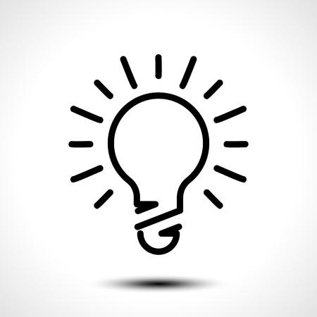Glowing bulb icon on white background. Vector illustration Illustration