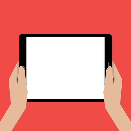 holing: Hands holing tablet computer with a white screen. Using digital tablet pc.. Vector illustration