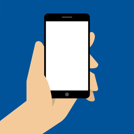 holing: Hand holing black smartphone with blank white screen.