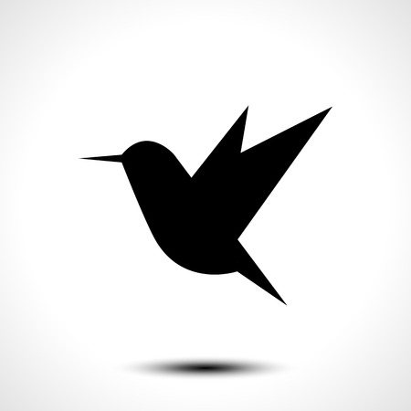 Hummingbird silhouette isolated on white. Vector illustration