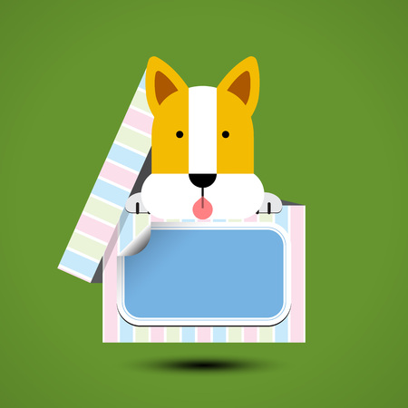 Dog sits in box for gift with sticker for your text. Vector illustration Illustration
