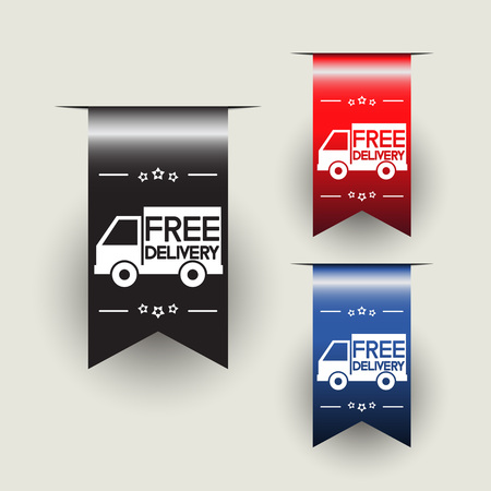 free delivery labesl or ribbons vector illustration royalty free