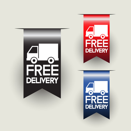 Free delivery labels or ribbons. Vector illustration Illusztráció