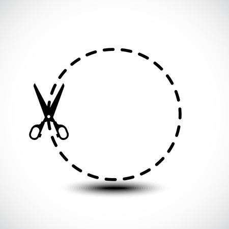 Vector dotted lines with scissor icon isolated on white background